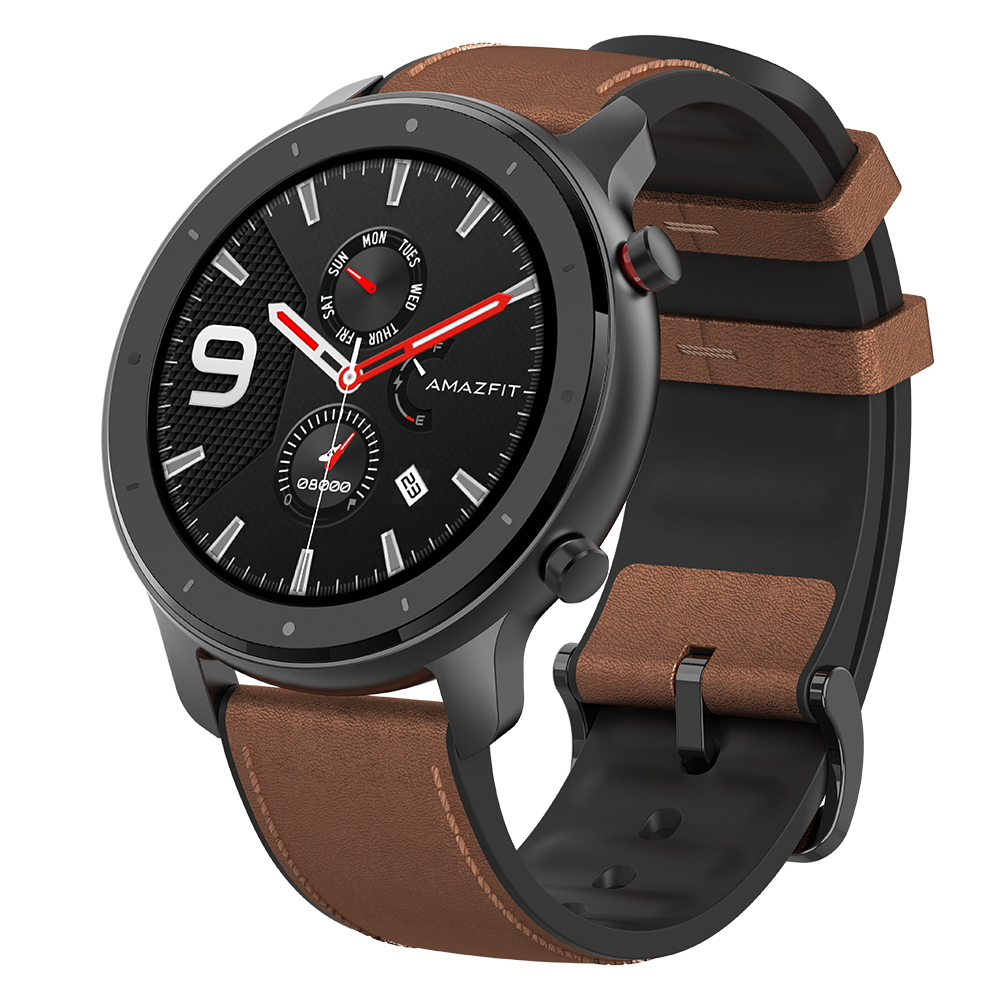 AMAZFIT GTR 47mm Smart Watch 24 Days Battery Life 5ATM Waterproof Global Version   Xiaomi Ecosystem Product    Brown 47mm Aluminum Alloy Case