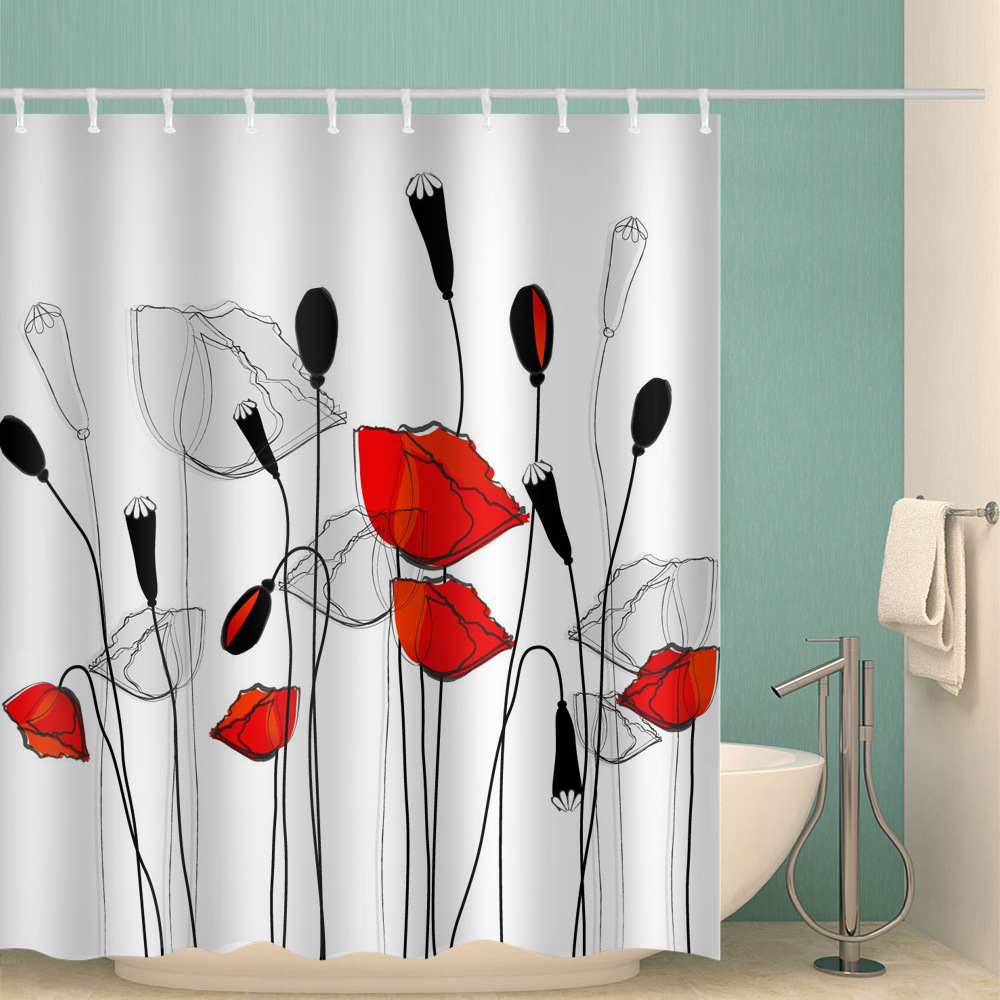 Hand Painted  Flowers Polyester Waterproof Bathroom Fabric Shower Curtain