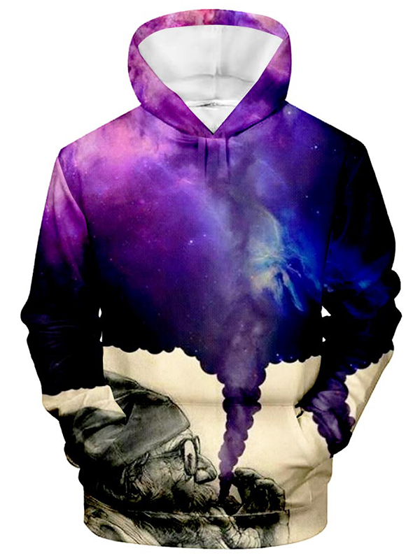 Mens 2nd Print Of The Lazer Moon Hooded Sweatshirt Funny Printed Pullover Hoodies Classic Long Sleeve T Shirt Tops