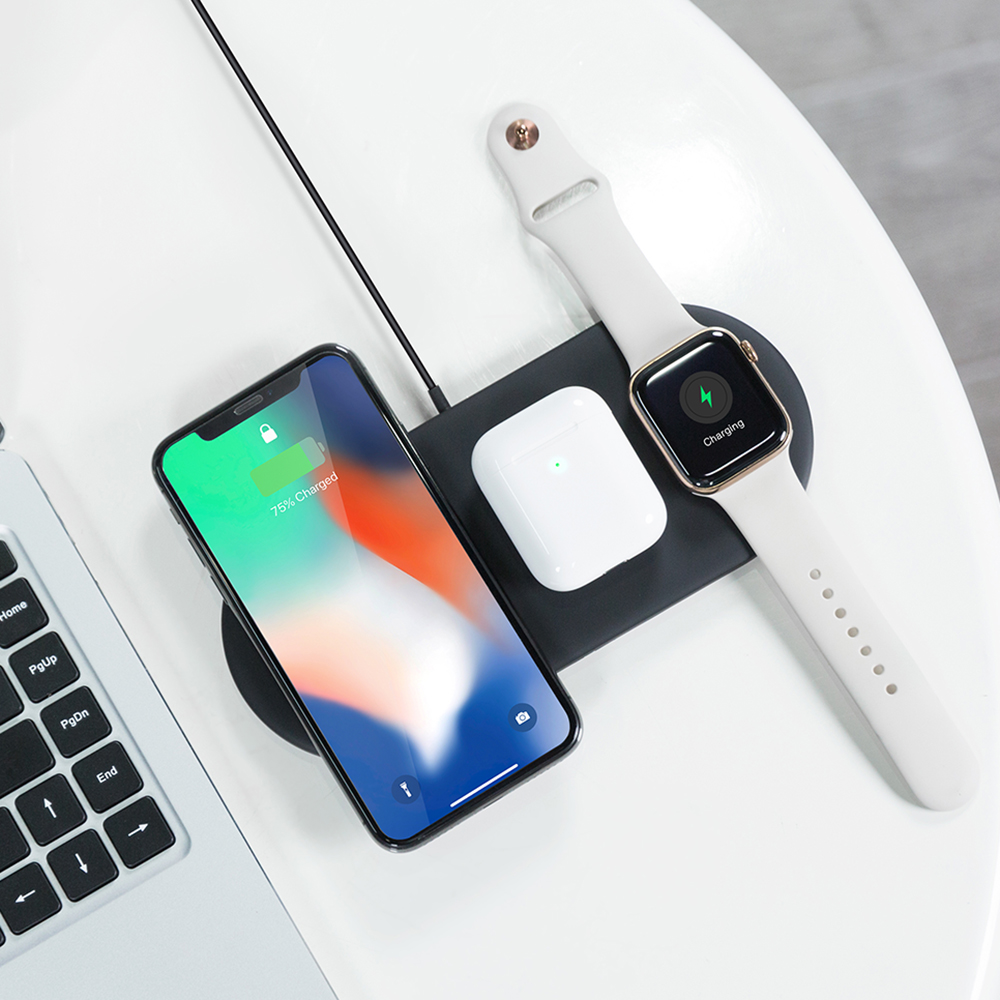 OJD 48 3 in 1 Fast Qi Wireless Charger Holder Pad for iPhone iWatch Airpods