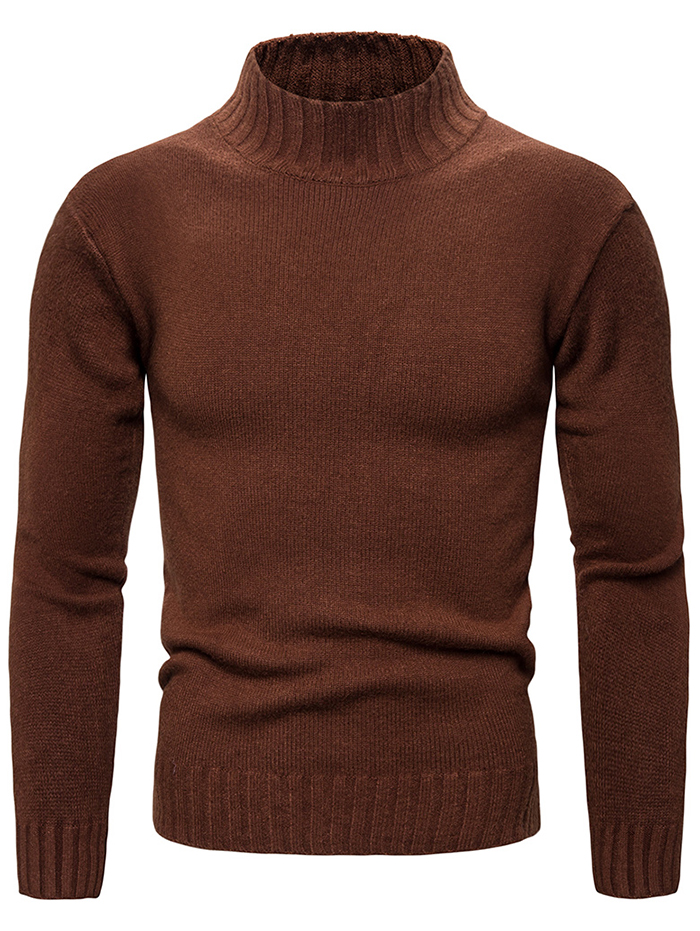 Mens Casual Autumn Slim Sweater Turtleneck Solid Tops Pullover Winter Shirts
