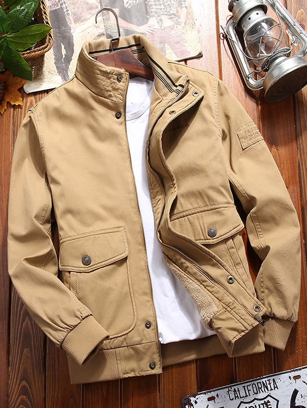 Male Furry Solid Color Autumn Winter Jacket Stand Collar Double Pocket Coat