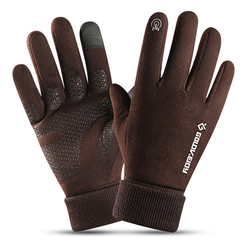 Color : Black, Size : M Leather Gloves Mens Leather Gloves Plus Velvet Warm Full Touch Gloves Driving
