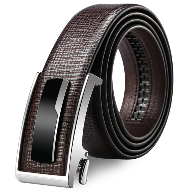 OnIn Great brand of young mens belt automatically genuine brown leather belt waistband simple atmospheric belt