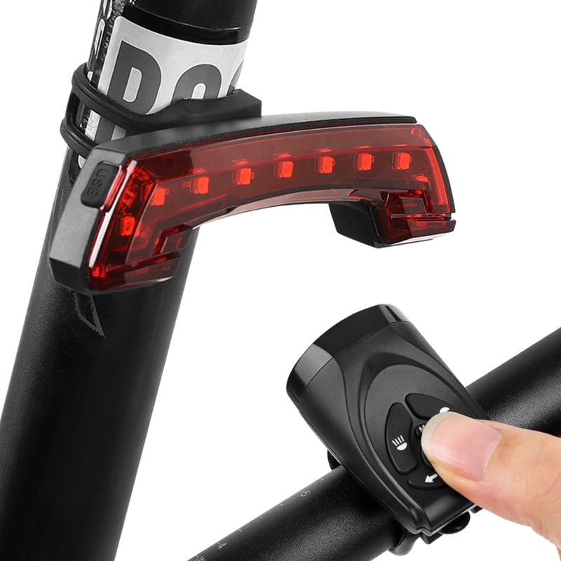 Bicycle Bike Indicator LED Rear Tail Light USB Wireless Remote Control 5 Modes