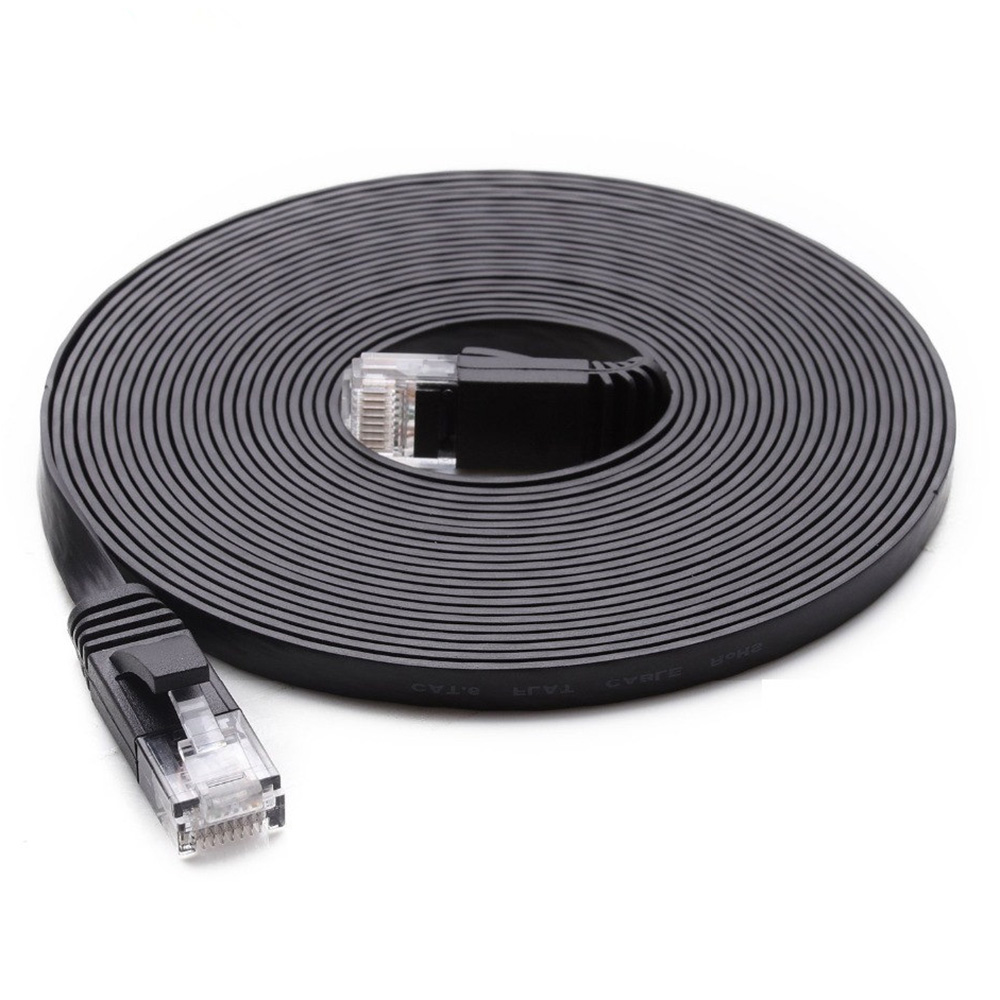 Patch Lead RJ45 ,Ethernet cable Network Cable 1m CAT6 Ultra-thin Flat Ethernet Network LAN Cable Black Color : White
