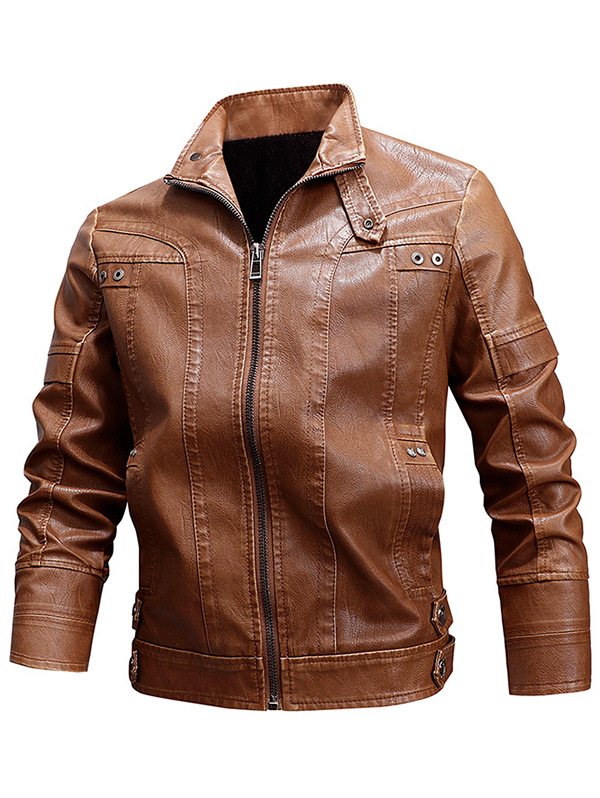 cobcob Mens Leather Jackets,Males Zip Up Coat Hooded Drawstring Outwear Casual Slim Fit Soild Thickening Bomber Jacket
