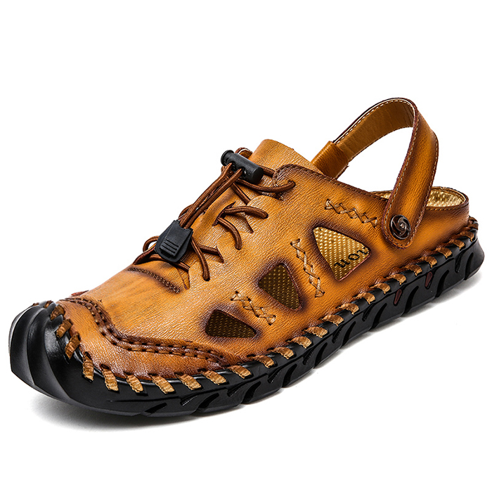 Mens Round Closed Toe Leather Fisherman Sandals Casual Walking Shoes Slippers
