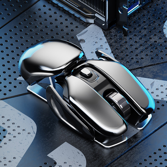 PX2 Alien New Species Concept Charging Wireless Mouse 2.4G Office Home Silent Rechargeable Mouse - Gray Goose