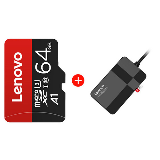 Lenovo Micro SD TF Memory Card Durable and Reliable Strong Compatibility 16G 32G 64G 128G Mix 3.0 4-in-1 Card Reader - Rosso Red 16GB TF Card+3.0 4-in-1 Card Reader