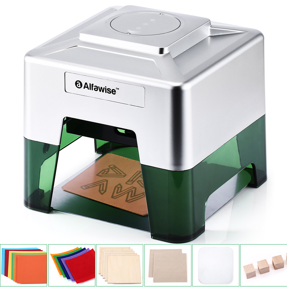 Alfawise C50 Mini Wireless Smart Laser Engraver Cutter APP Operation Freely DIY Various Materials Engraving Machine 98 x 88mm Engraving Area - Silver US Plug