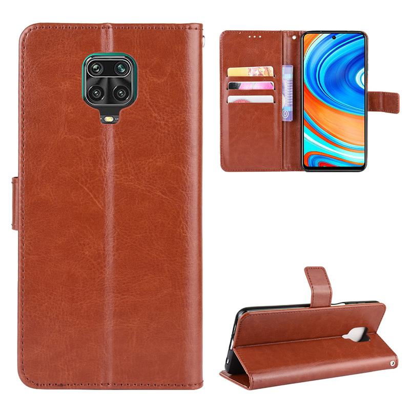 ASLING PU Leather Phone Case Holder Wallet Card Storage Cover Xiaomi Redmi Note 9S / Redmi Note 9 Pro / Redmi Note 9 Pro Max - BROWN