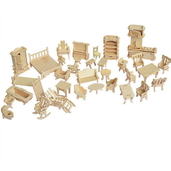 Wooden Small Furniture Creative Gifts Simulation Model 34pcs - WOOD