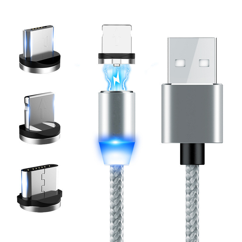 SJX1 3 1 3A Fast Charging Magnetic Cable Magnet Charger Data Cord 8 Pin + Micro USB + Type-C Mobile Phone Cable 1M - SILVER