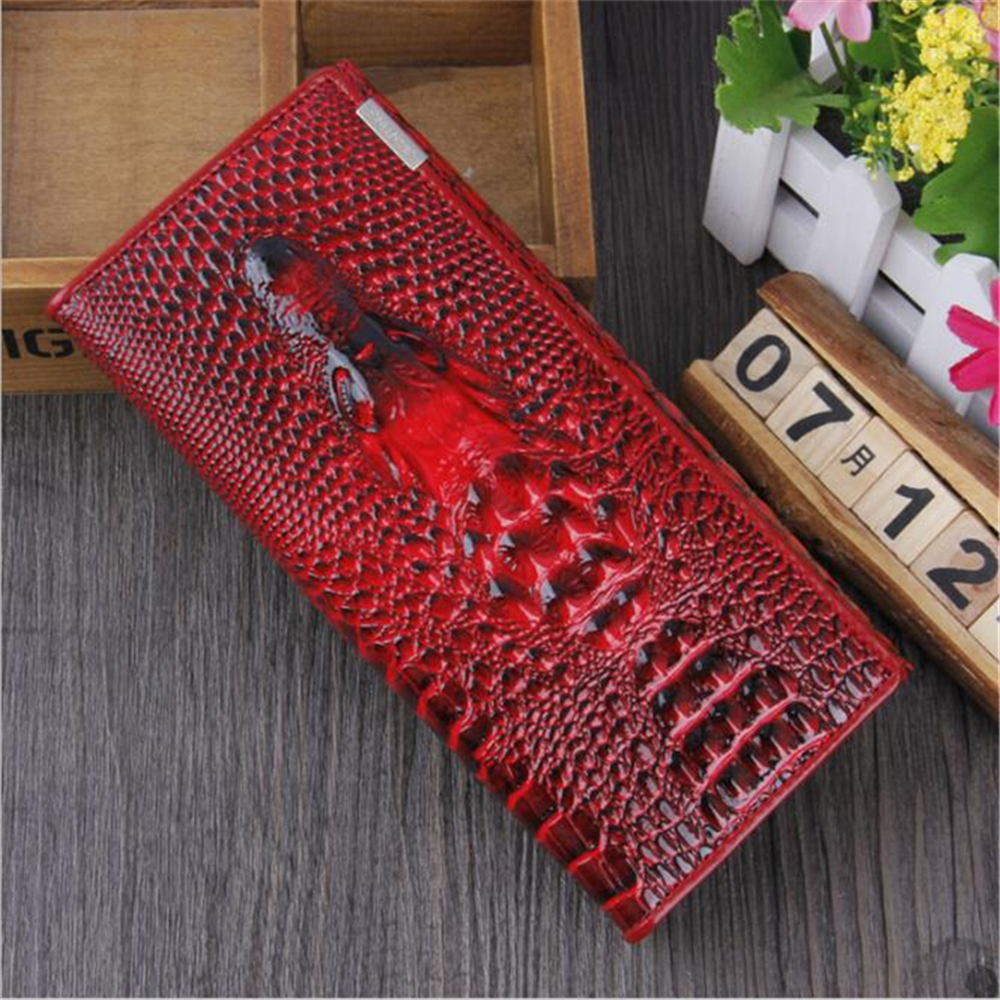 New Women Wallet Hasp Coin Purses Holders Brand Genuine Leather 3D Embossing Alligator Ladies Long Clutch Wall - DEEP RED