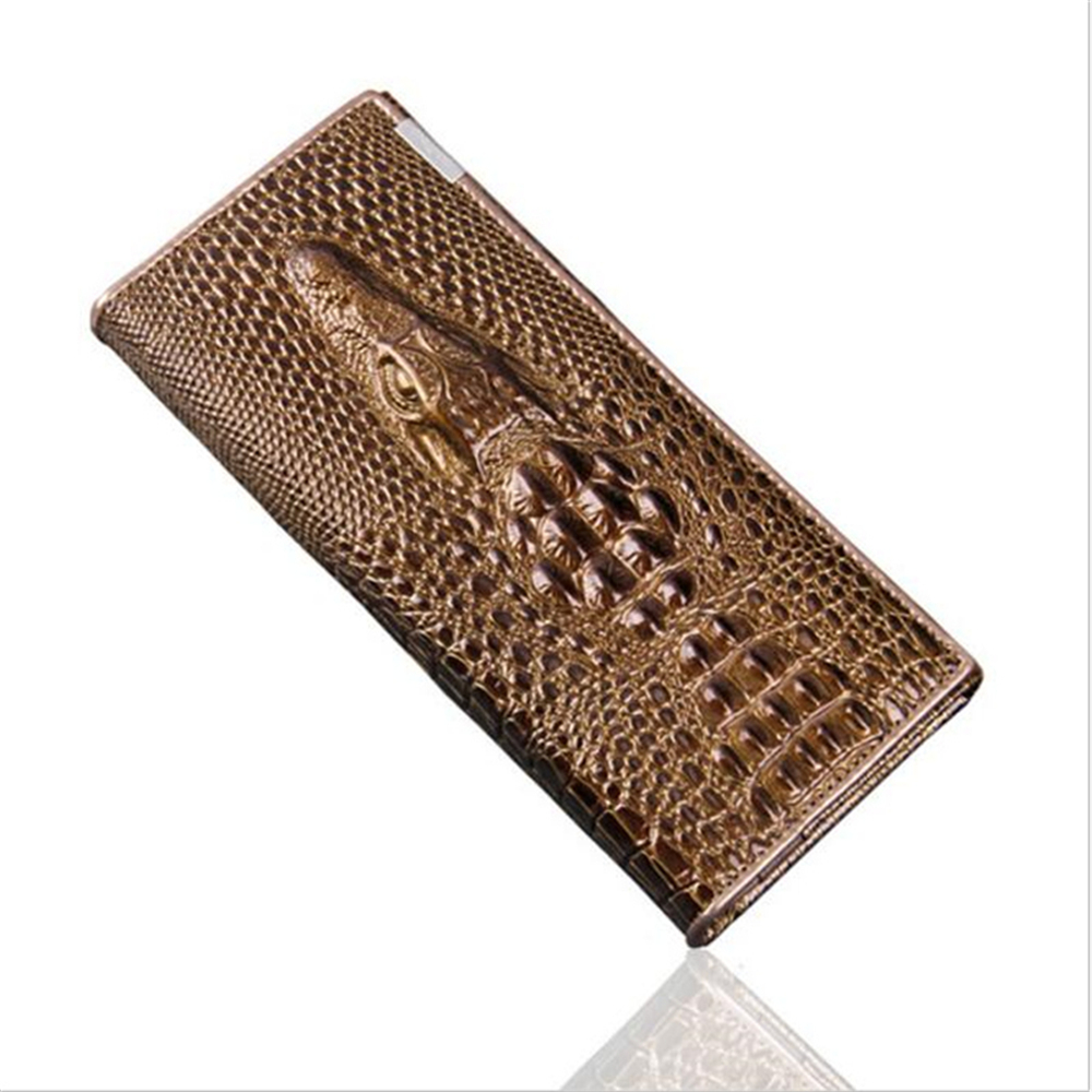 New Women Wallet Hasp Coin Purses Holders Brand Genuine Leather 3D Embossing Alligator Ladies Long Clutch Wall - GOLDEN