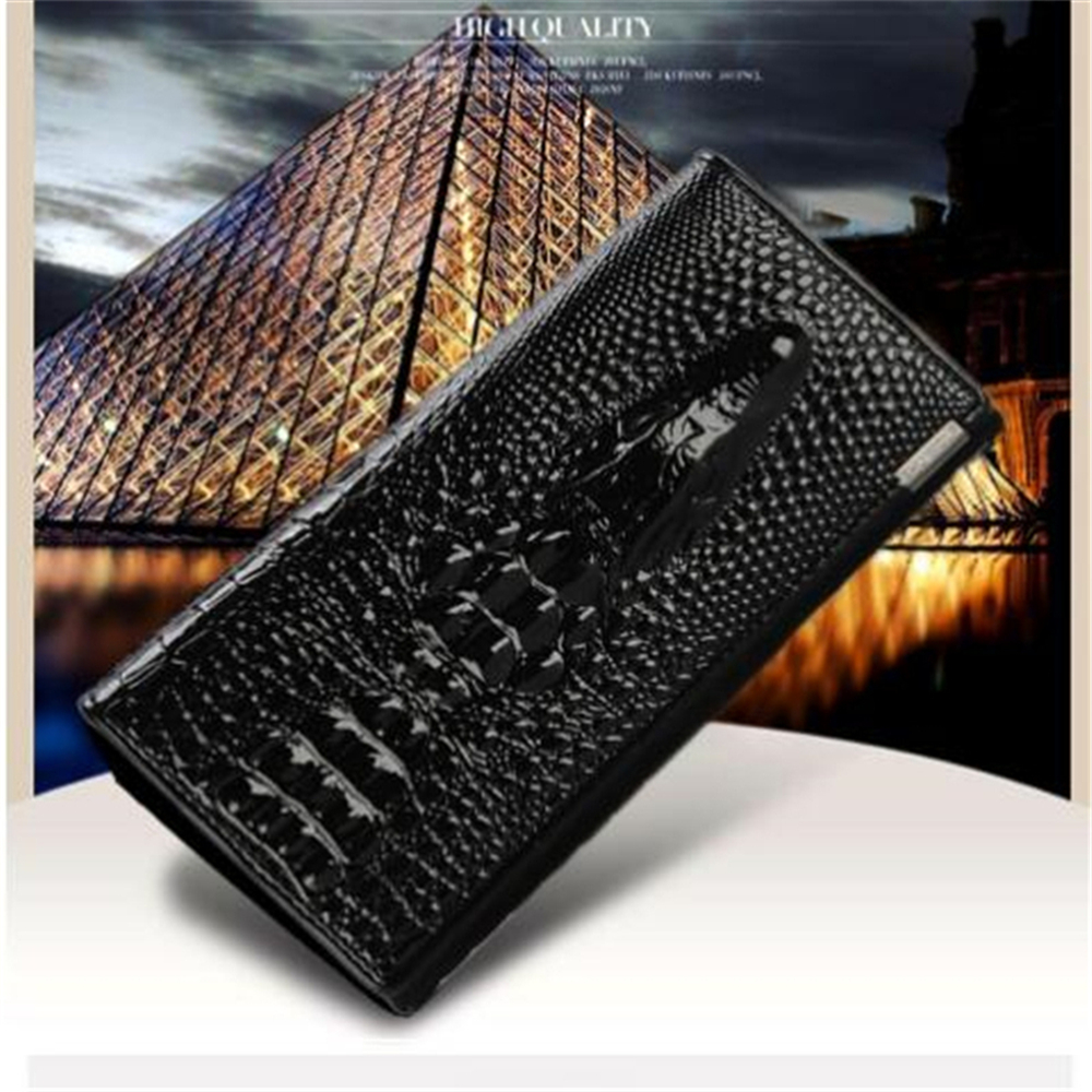 New Women Wallet Hasp Coin Purses Holders Brand Genuine Leather 3D Embossing Alligator Ladies Long Clutch Wall - BLACK