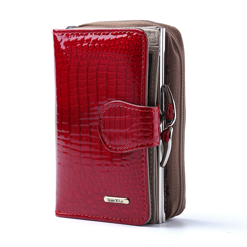 Fashion Real Patent Leather Women Short Wallets Small Wallet Coin Pocket Credit Card Wallet Female Purses Money Clip - RED
