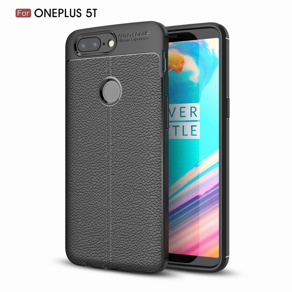 Case Cover Luxury Silicone TPU Leather Texture Oneplus5T Phone Case - BLACK