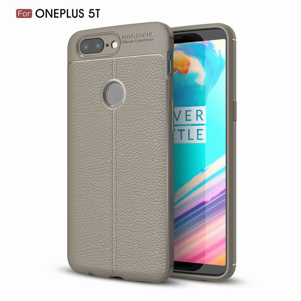 Case Cover Luxury Silicone TPU Leather Texture Oneplus5T Phone Case - GRAY