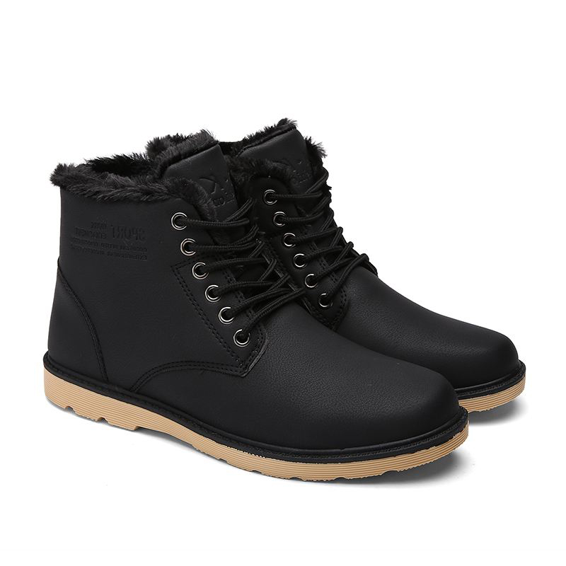 New Fashion British Boots Winter Warm Wool Leather Shoes Scarpe basse impermeabili per uomo