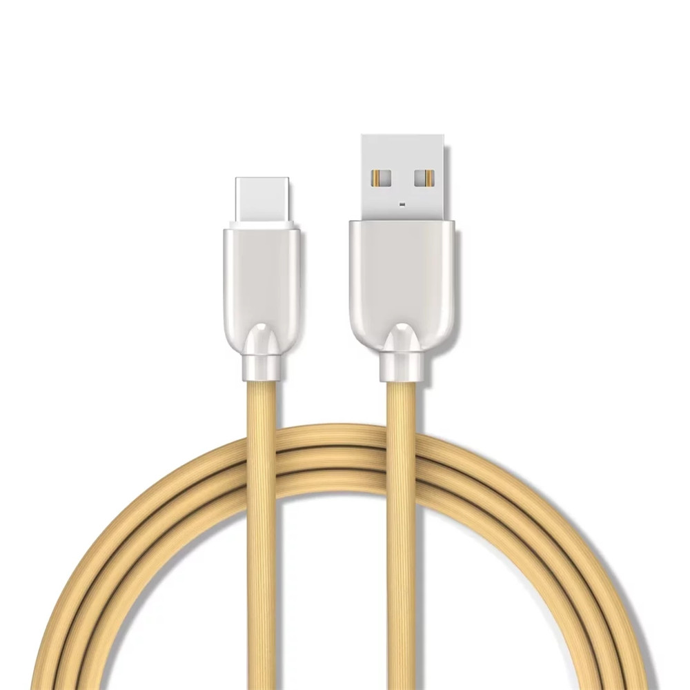 150CM Data Sync Fast Charging Cable Type-C Devices Zinc Alloy Spring Cord - GOLDEN