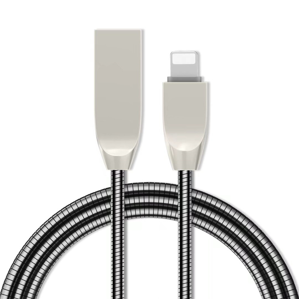 1 M Zinc Alloy 8 Pin Fast Data Charging Cable Apple Devices - BLACK