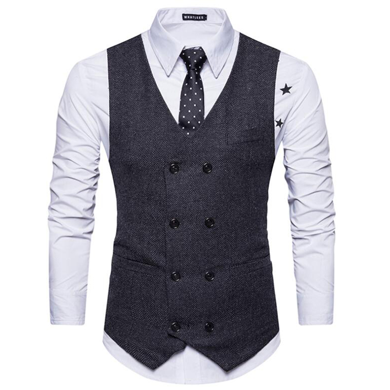 MOUTEN Mens Double Breasted Solid Slim Fit Casual Business Suit Vests Waist Coat