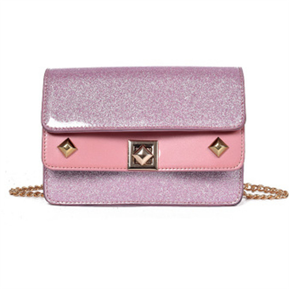 Leather Flap Handbags High Quality Ladies Party Purse Clutches Women Shoulder Evening Bags - PINK