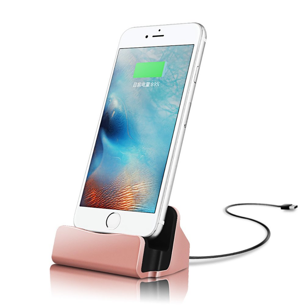 Charging Station Charger Dock Charging Station Charger Dock iPhone 8/ 8 Plus /iPhone X/ 7 Plus/7 6S 6S Plus 5 - ROSE