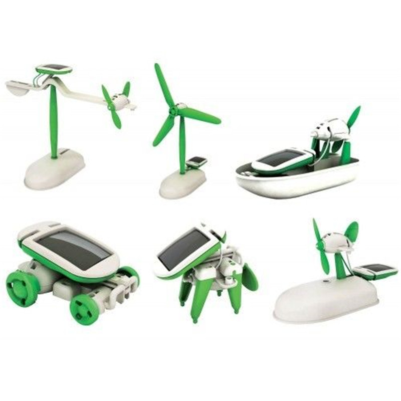 6 in 1 Solar Power DIY Toy Robots Helicopter Plane Educational Children Gift