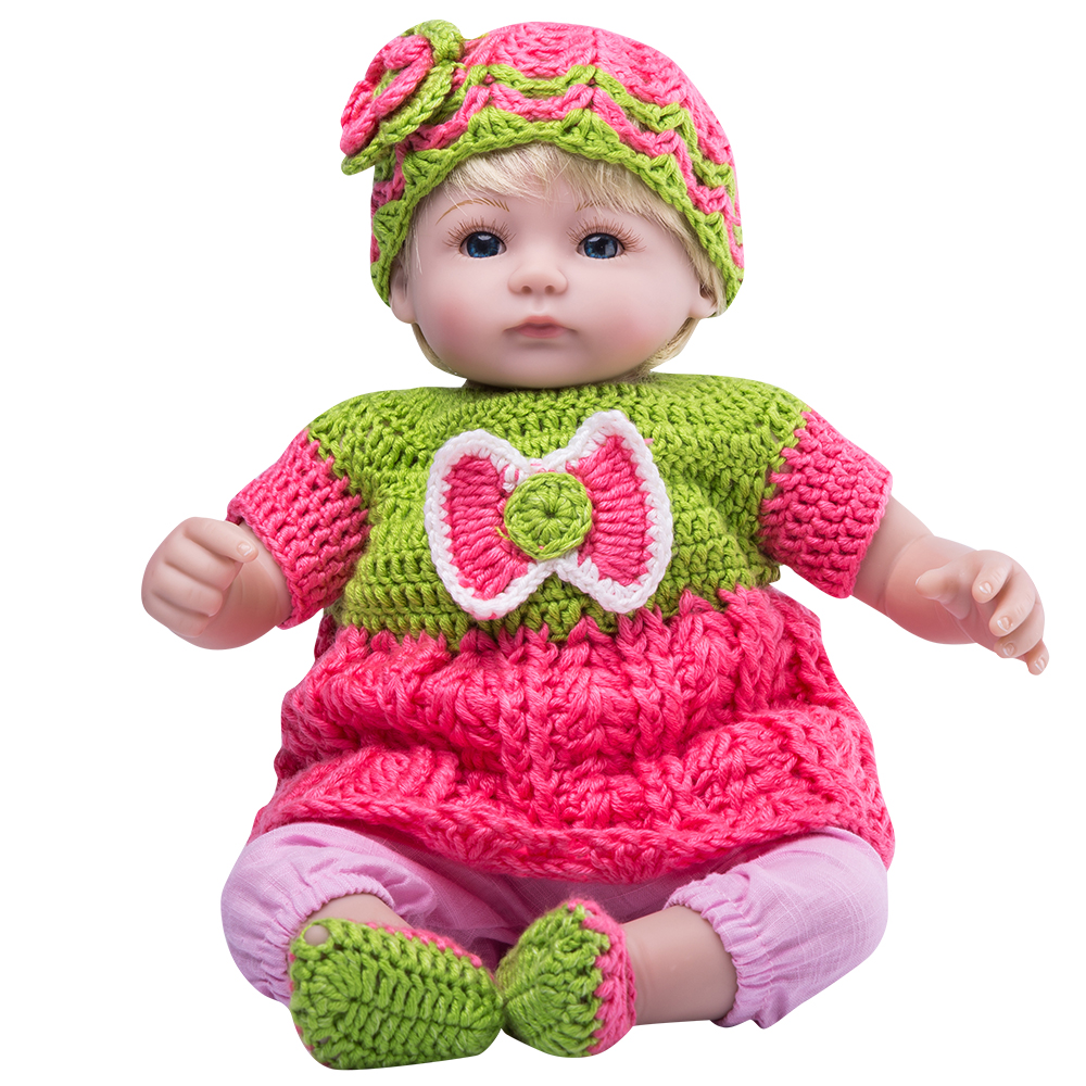 Baby Gift for Baby Shower Handmade Educational Toy Knitted Doll for the Game and Childrens Decor Doll in Pink Clothes. Knitted Soft Toy