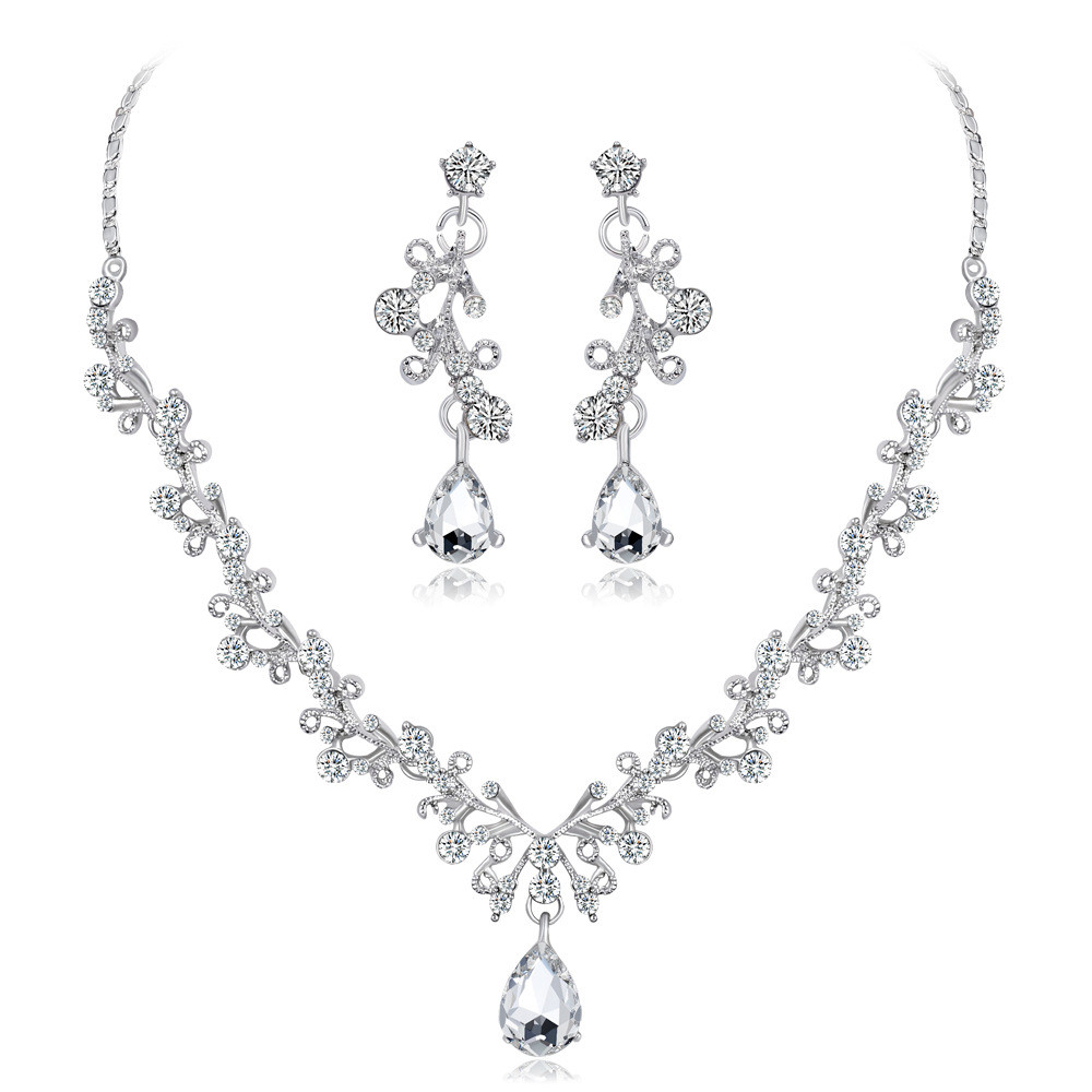 Shiny High End Crystal Diamond Necklace Set Bridal Necklace Earrings Set Of Two Sale Price Reviews Gearbest