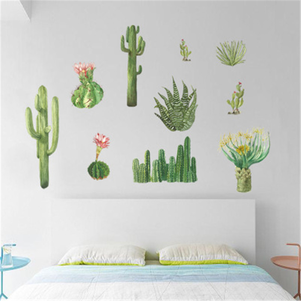 Cactus Bedroom Cabinet Window Sill Wall Sticker Pvc Mural Sale Price Reviews Gearbest