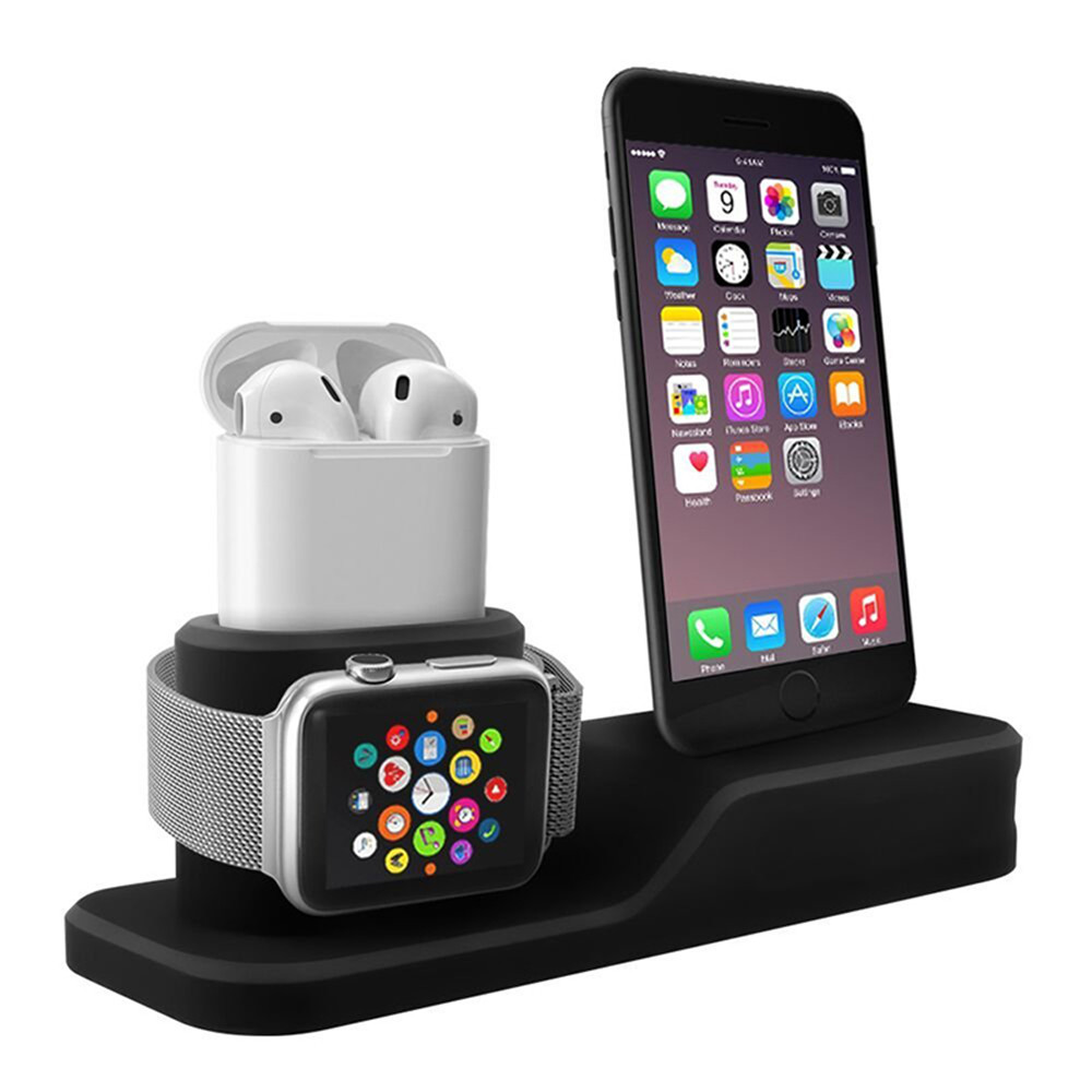 Silicone 3 in 1 Charging Stand Holder Dock for iPhone for Apple Watch/ AirPods Sale, Price & Reviews | Gearbest