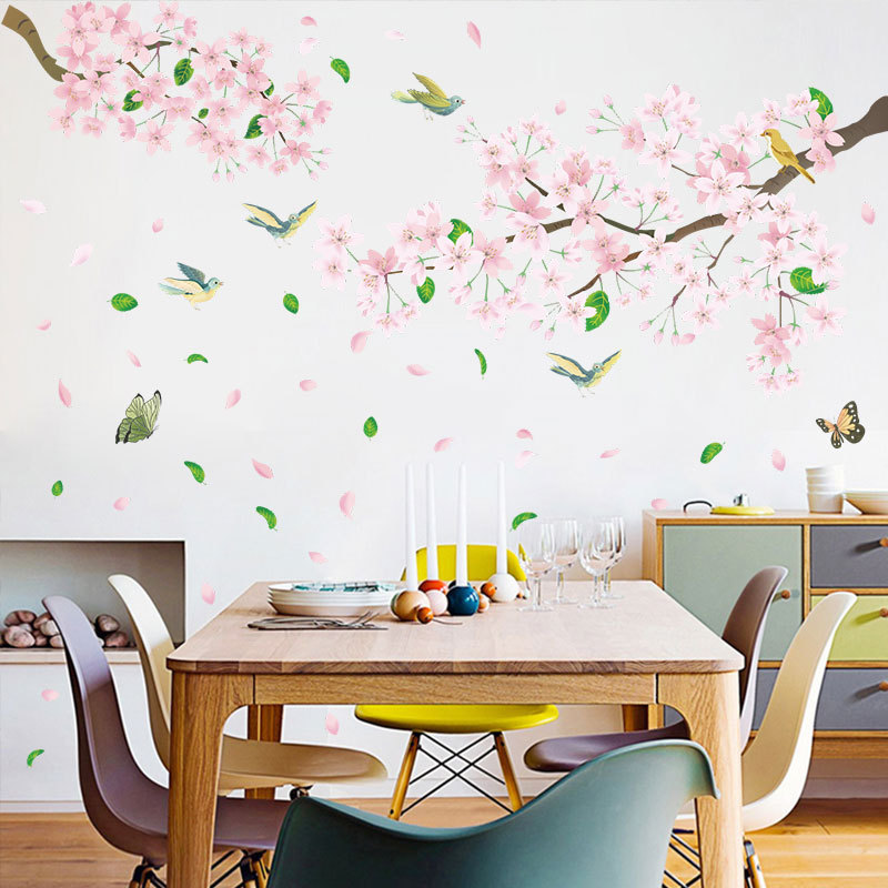 Pink Flowers And Birds Removable Pvc Window Film Wall Stickers 2pcs Sale Price Reviews Gearbest