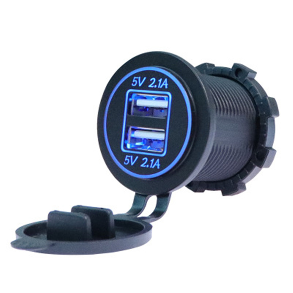 Grebest Car Charger Motorcycle Electronics Car Charger Universal Waterproof Car Motorcycle Dual USB Charger Power Outlet Socket Adapter Black
