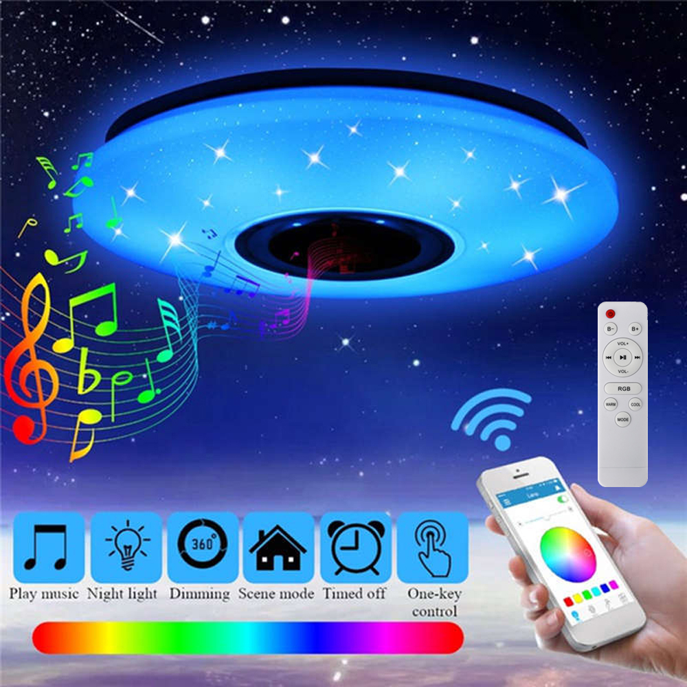 60w Rgb Led Ceiling Light Bluetooth Music Speaker Lamp Remote App Control Ac220v Sale Price Reviews Gearbest