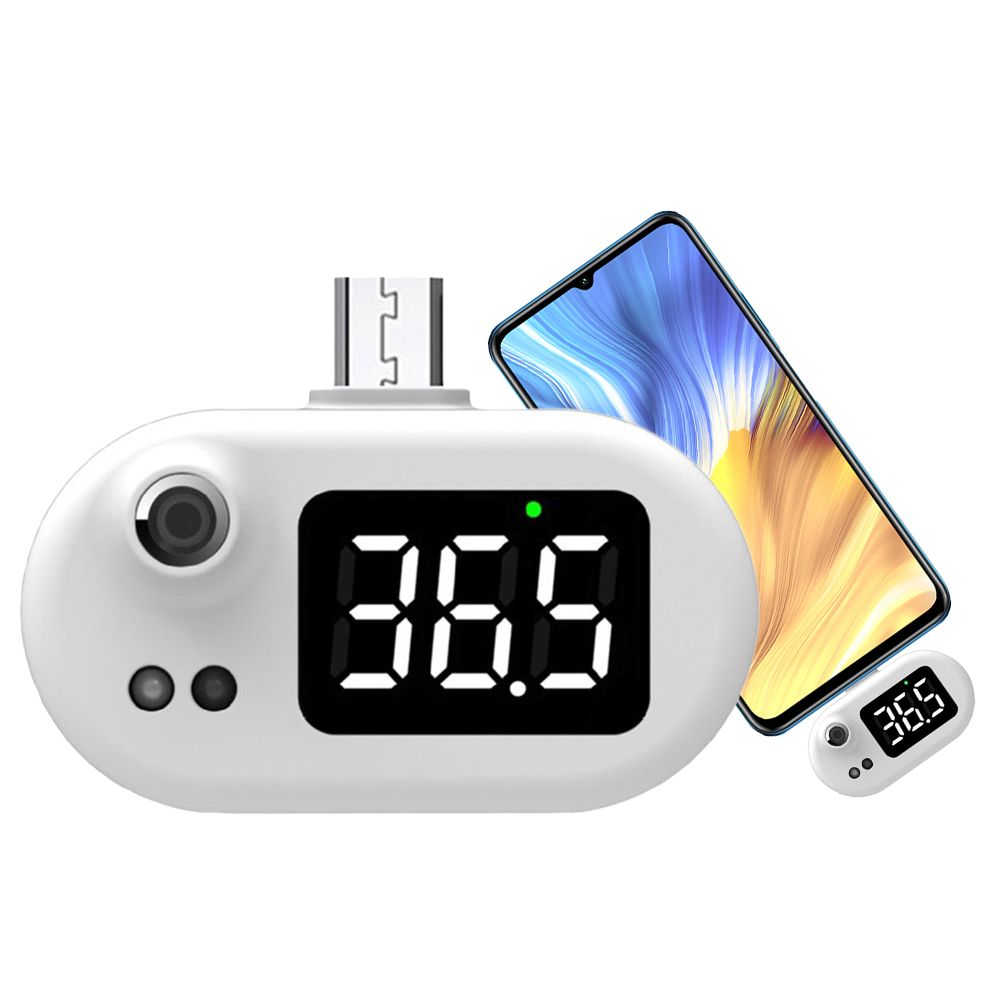 Non-contact Type Infrared Micro USB Smart Thermometer for Hongmi /Huawei/Samsung - White