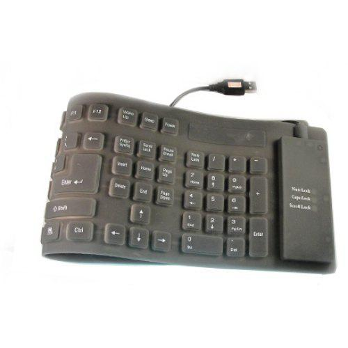 109-Key Compact Mini USB Soft Silicone Waterproof Keyboard (140CM-Cable) -  Black