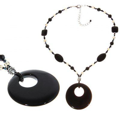 TX-1567N Fashionable Artificial Onxy and Bead Necklace Neck Chain Neck Ornament Jewelry   for Female