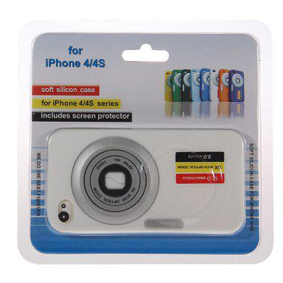 Camera Design Soft Silicone Case for iPhone 4 4S - White