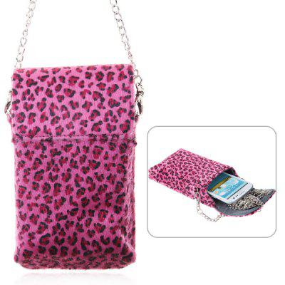 Cool Artifical Leopard Leather Magnetic Pouch Case Bag with Shoulder Metal Chain for Samsung Galaxy i9300 / i9250 / iPhone 5 / 4 / 4S / etc - Rose