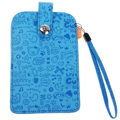 Cool Artifical Leather Snap Closure Pouch Carry Case for Samsung Galaxy Note 2 N7100 - Blue