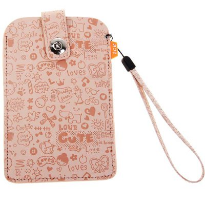 Cool Artifical Leather Snap Closure Pouch Carry Case for Samsung Galaxy Note 2 N7100 - Light Pink