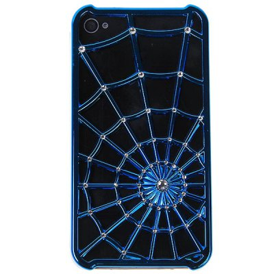 Trendy Novel Spider Net met Diamond Style plastic behuizing voor de iPhone4 / 4S - Blauw