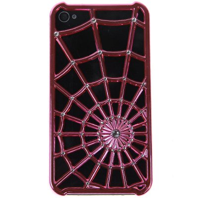 Trendy Novel Spider Net with Diamond Style Plastic Case for iPhone4/4S