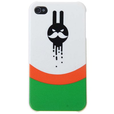 Novel Fierce Moustache Man Pattern Plastic Protective Case for iPhone4 / 4S - Black