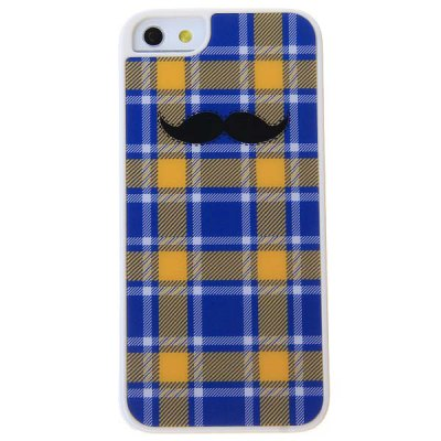 Stylish Cool Black Moustache Block Pattern Hard Protective Case for iPhone 5 - Blue