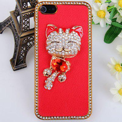 Unique Luxury 3D Cat Pattern Colorful Diamonds High Quality Leather Hard Case for iPhone 5 - Red jinhao fountain pen unique design high quality dragon pens luxury business gift school office supplies send father friend 002